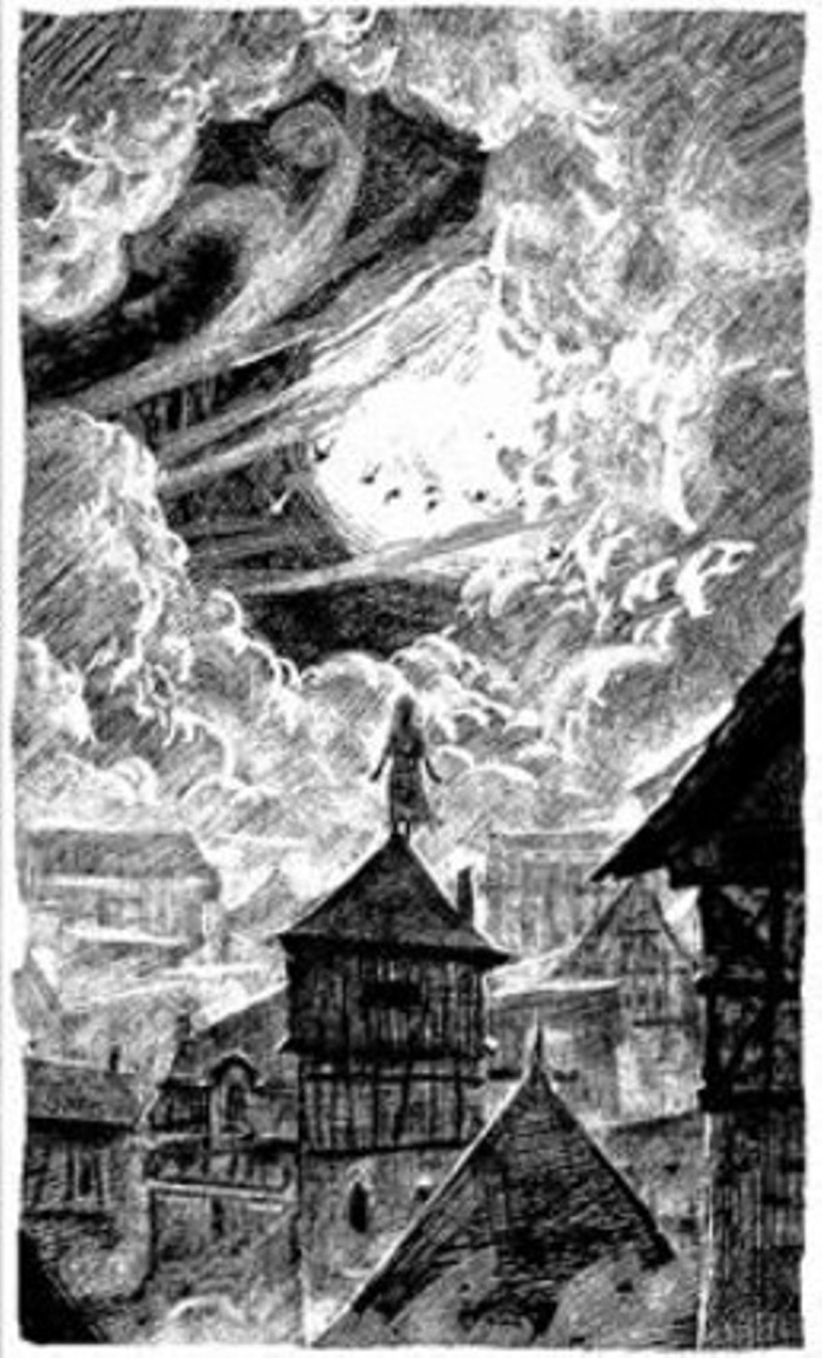 Una de las ilustraciones de la novela breve 'La música del silencio'.