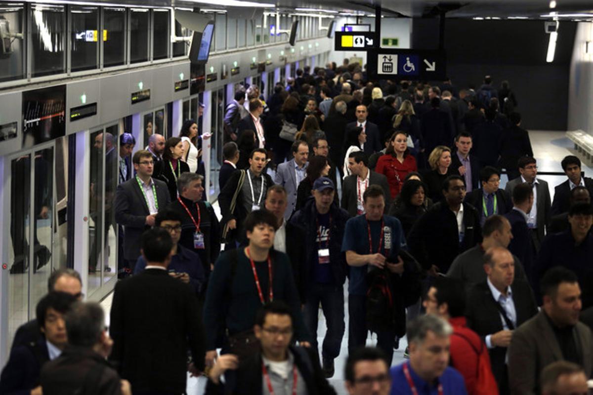 Huelga de metro durante el Mobile World Congress, el 24 de febrero del 2016.