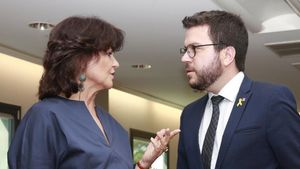 Carmen Calvo y Pere Aragonès, este jueves en la Moncloa.