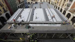 Vista superior de las obras del flamante nuevo mercado de Sant Andreu.