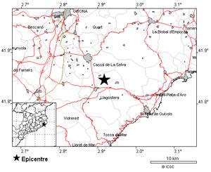 Mapa que sitúa el epicentro del terremoto.