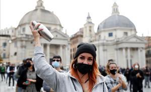 Protesta en Roma por el cierre de la restauración debido al coronavirus.