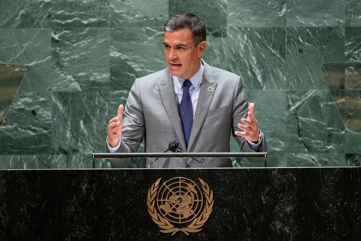 El presidente del Gobierno, Pedro Sánchez, se ha dirigido a la Asamblea General de Naciones Unidas, en Nueva York, y ha asegurado: Sin duda la democracia está amenazada.