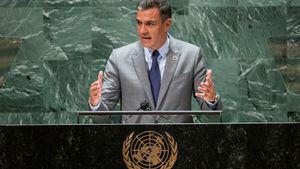 El presidente del Gobierno, Pedro Sánchez, se dirige a la Asamblea General de Naciones Unidas, este 22 de septiembre de 2021 en Nueva York, madrugada del jueves en España.