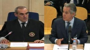 El fiscal Anticorrupción Alejandro Luzón y el expresidente de Caja Madrid Miguel Blesa, durante eljuicio de las tarjetas 'black'.