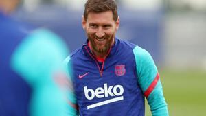 Messi, en el último entrenamiento antes de viajar a Madrid.