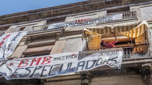 Protesta del Sindicat de Llogaters de Barcelona contra el asedio inmobiliario.