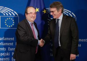 Miquel Iceta conel presidente del Parlamento Europeo, David Sassoli.