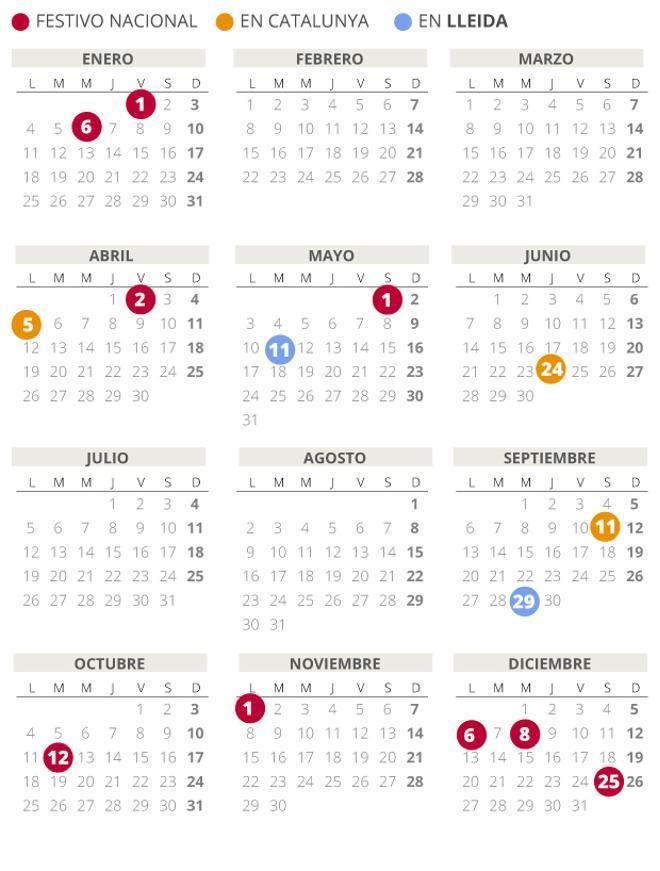 Calendario laboral de Lleida del 2021 (con todos los festivos)