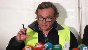 El ingeniero Ángel García, coordinador del rescate de Julen, durante una rueda de prensa en Totalán, el año pasado.