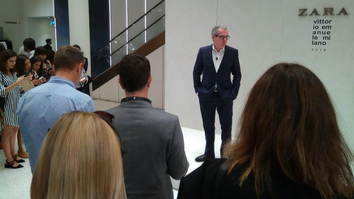 El presidente de Inditex, Pablo Isla, durante la presentación de la remodelación de la tienda 'flagship' de Zara en Milán.