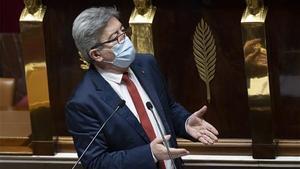 Jean-Luc Melenchon, durante el debate de este jueves en la Asamblea Nacional.