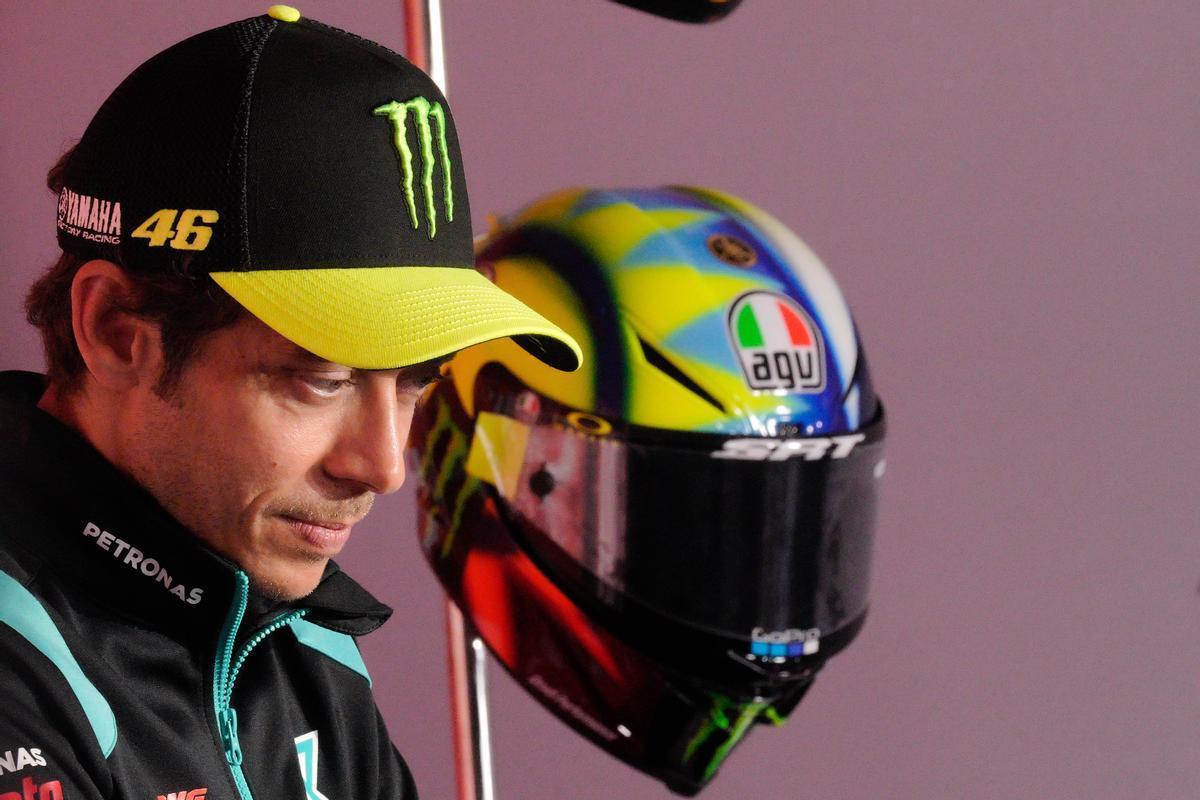 Valentino Rossi (Yamaha), en la conferencia de prensa de hoy, en Assen (Holanda).