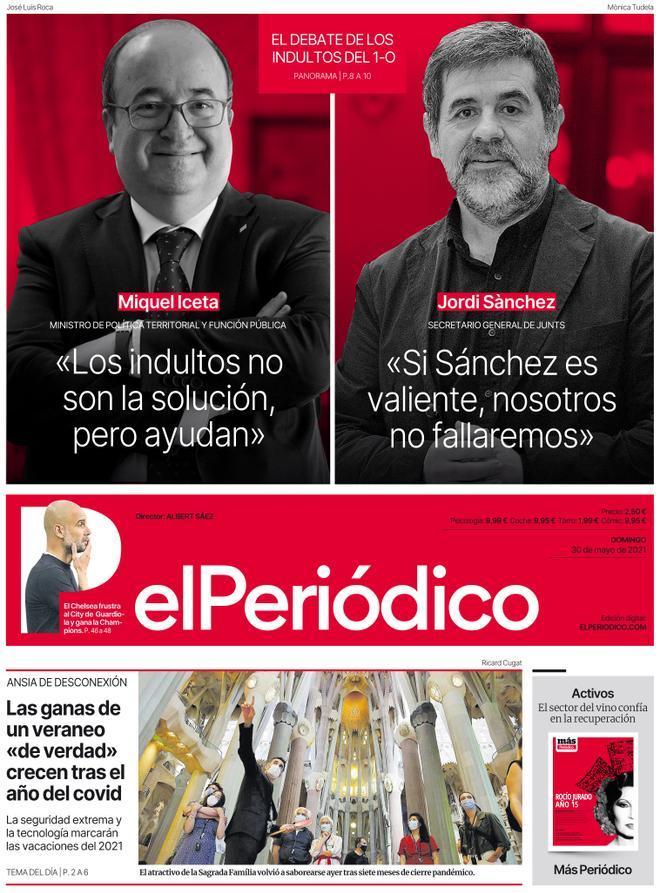 La portada d'EL PERIÓDICO del 30 de maig del 2021