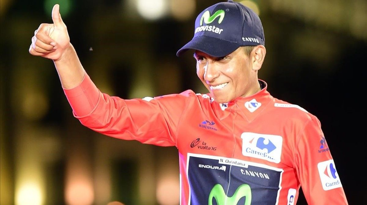 Quintana celebra su triunfo en la Vuelta a España-2016.