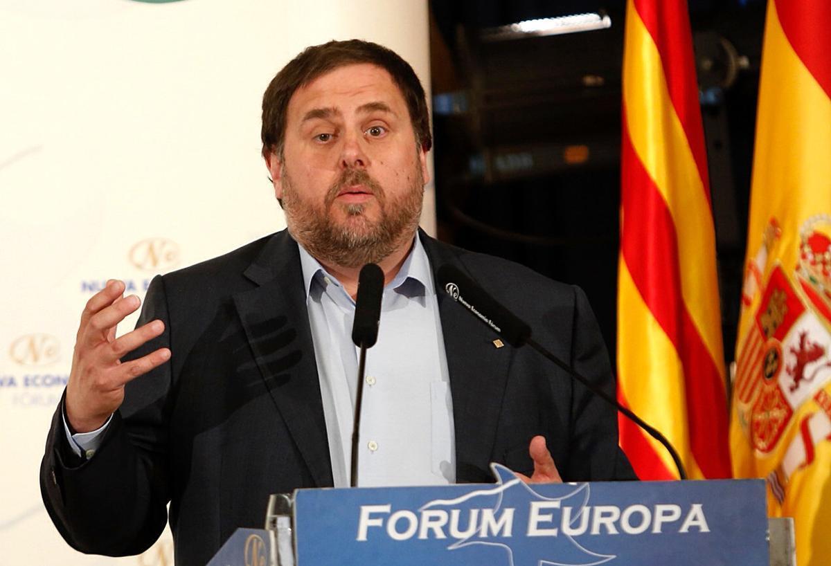 Oriol Junqueras, en el desayuno informativo Forum Europa, hoy, en Madrid.