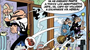 Fragmento de la portada '¡El capo de escapa!', nueva aventura de Mortadelo y Filemón.