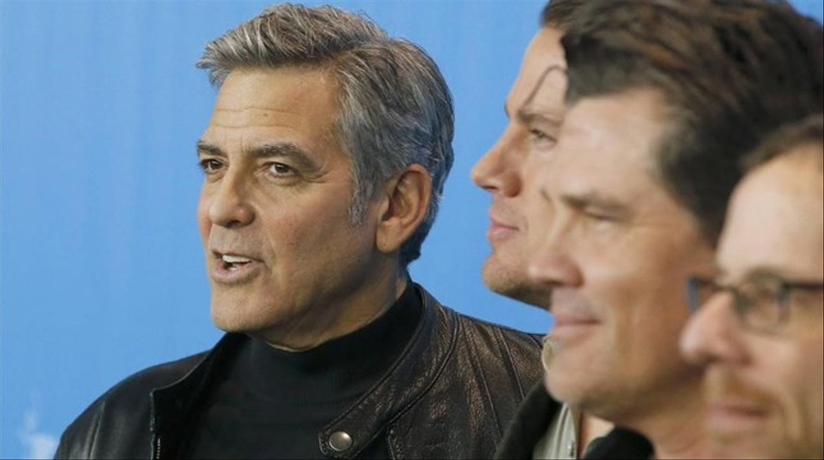 George Clooney, Channing Tatum, Josh Broslin y Ethan Coen, en Berlín durante la presentación de '¡Ave César!'