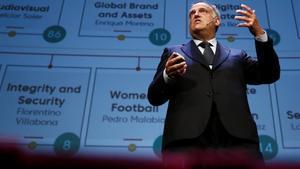 Tebas, el presidente de la Liga de Fútbol Profesional, en el World Football Summit, que se celebró en Madrid.