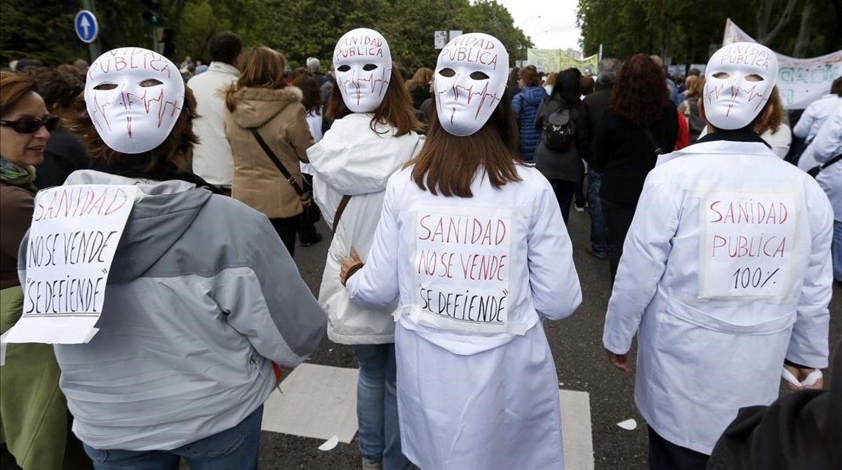 Manifestación contra los recortes en Sanidad, en Madrid.