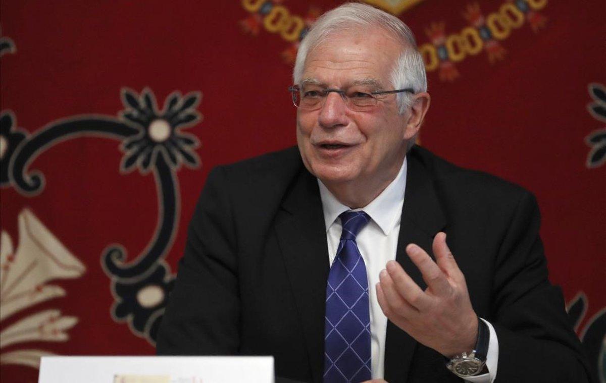 El ministro de Exteriores, Josep Borrell, en una inauguración este miércoles en la Escuela Diplomática en Madrid