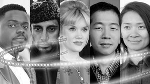 De izquierda a derecha, Daniel Kaluuya, Riz Ahmed, Emmerald Fennell, Lee Isaac Chung y Chloé Zhao.