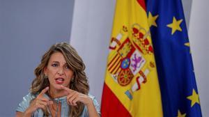 La ministra de Trabajo, Yolanda Díaz, en unarueda de prensa posterior a una reunión delConsejo de Ministros, en septiembre.