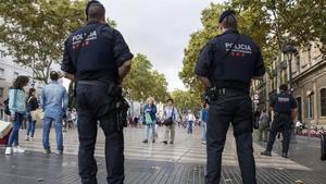 Vigilancia de los Mossos de Esquadra en las Ramblas.