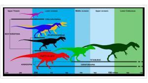 Árbol evolutivo de los dinosaurios depredadores.