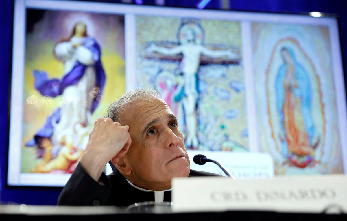 Cardinal Daniel DiNardopresident of the U SConference of Catholic Bishopslooks up while holding a news conference at the USCCB general assembly in BaltimoreMarylandU S REUTERS Kevin Lamarque