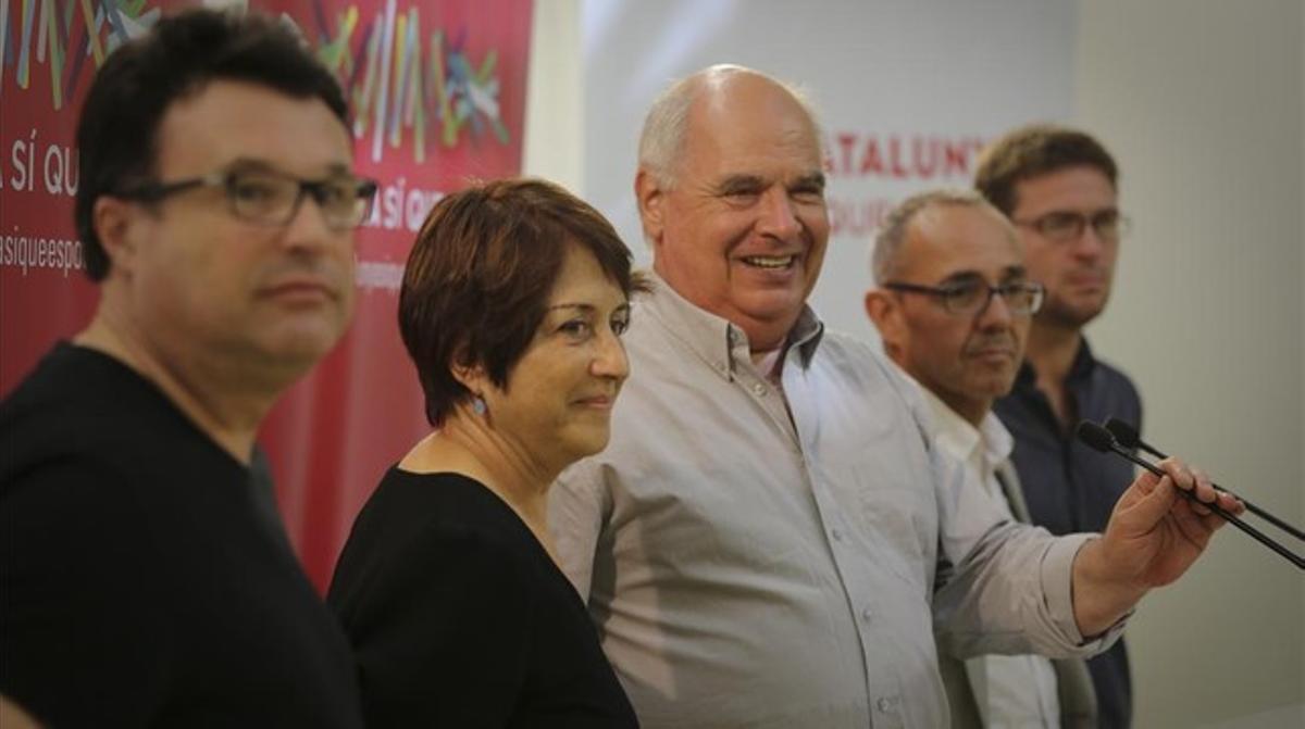 Nuet, Lienas, Rabell, Coscubiela y Fachin, en la sede de Catalunya Sí que es Pot.