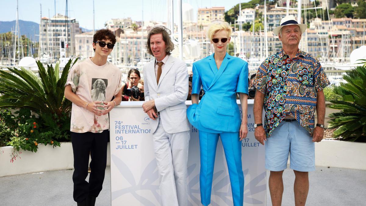 De izquierda a derecha, Timothée Chalamet, Wes Anderson, Tilda Swinton y Bill Murray, el pasado 13 de julio en el 74º Festival de Cine de Cannes.