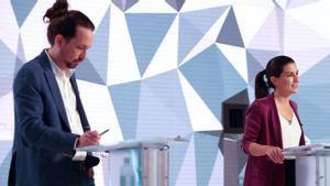 Pablo Iglesias y Rocío Monasterio en el debate de Telemadrid