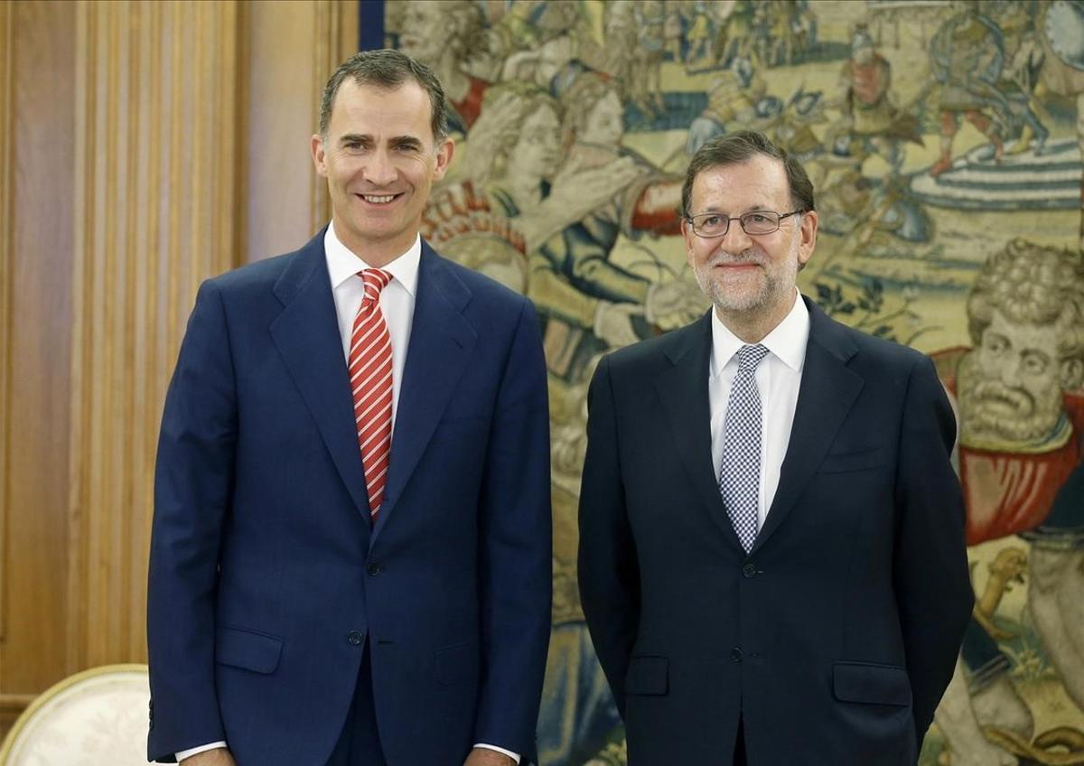 El presidente del Gobierno en funciones y del PP, Mariano Rajoy, en su audiencia con el Rey el pasado 28 de julio.