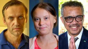 Alekséi Navalny, Greta Thunberg y Tedros Adhanom
