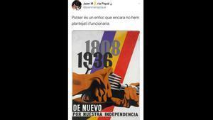 El tuit de la polémica de Joan Maria Piqué, borrado una hora después de publicarlo.