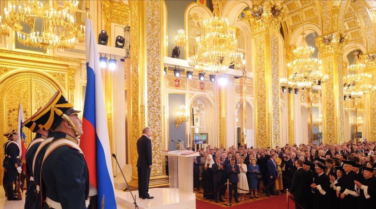 Acto oficial en uno de los salones del palacio del Kremlin, en Moscú.