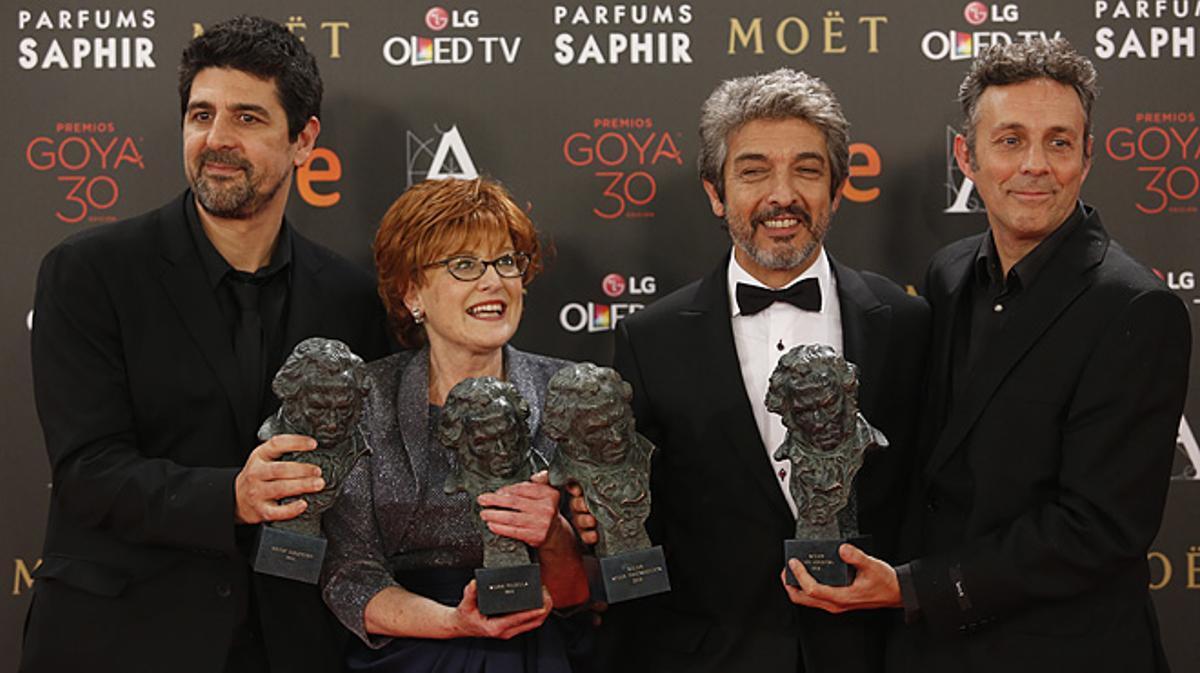 Cesc Gay, Marta Esteban, Ricardo Darín y Tomás Aragay,vencedores de la gala con sus 5 Goyas.