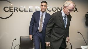 Pedro Sánchez i Antón Costas abans de la conferència al Cercle d'Economia.