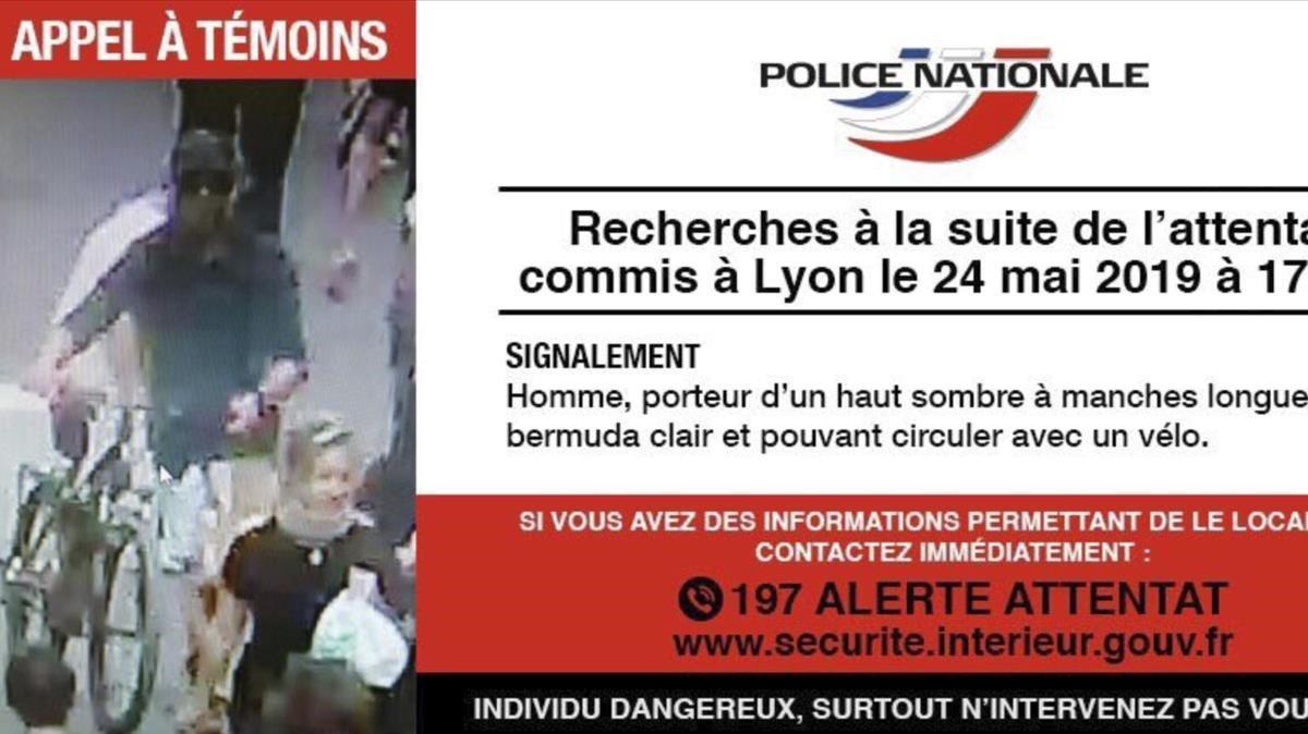 Imagen difundida por la policía pidiendo la colaboración ciudadana para encontrar al autor de la explosiónen Lyon.