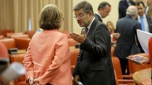Rafael Catala tras la reunión del grupo parlamentario del PP