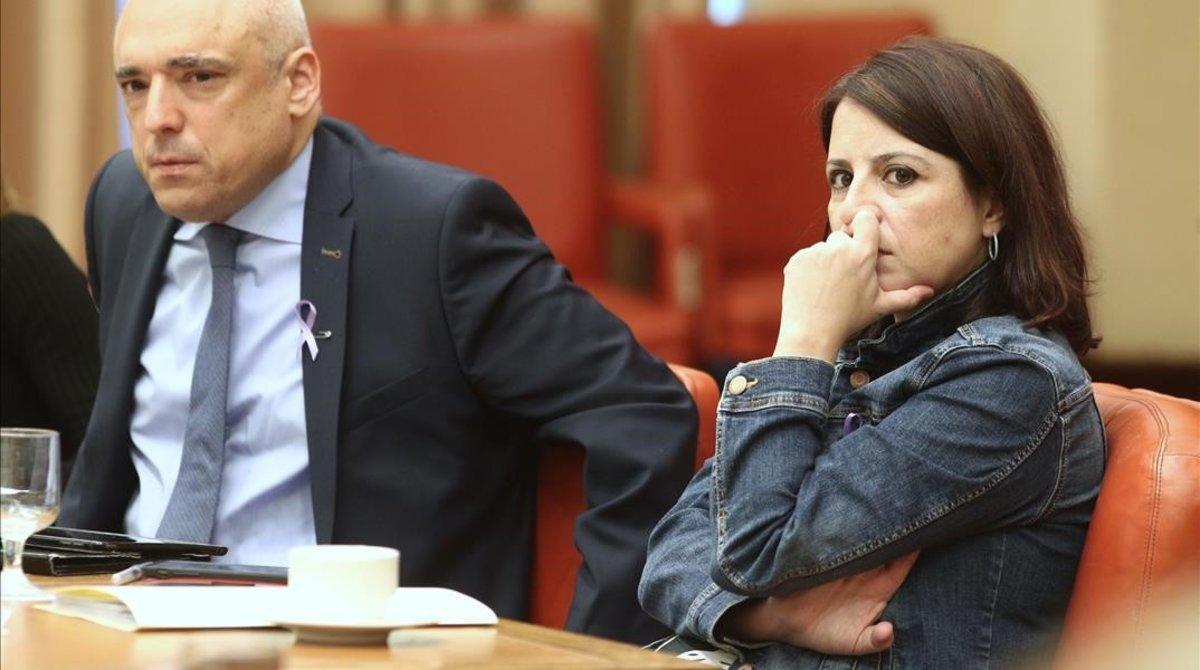 La portavoz parlamentaria del PSOE, Adriana Lastra, durante la Diputación Permanente del Congreso, este miércoles.
