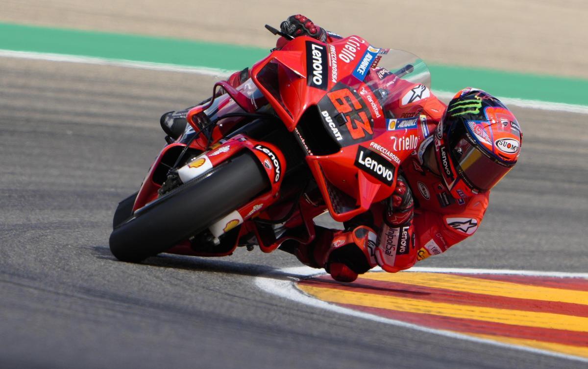 'Pecco' Bagnaia (Ducati) liderará mañana la parrilla de MotoGP del GP de Aragón.