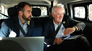 Ernest Maragall en un taxi el pasado lunes.