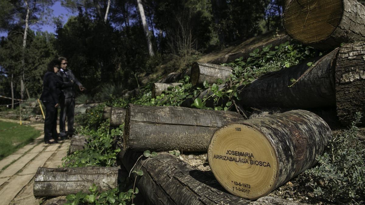 El tramo ya construído del 'Camí del bosc' en el cementerio Parc de Roques Blanques, este martes.