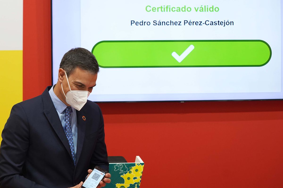Pedro Sanchez, durante la presentacióndelCertificado Verde Digital, en Fitur.
