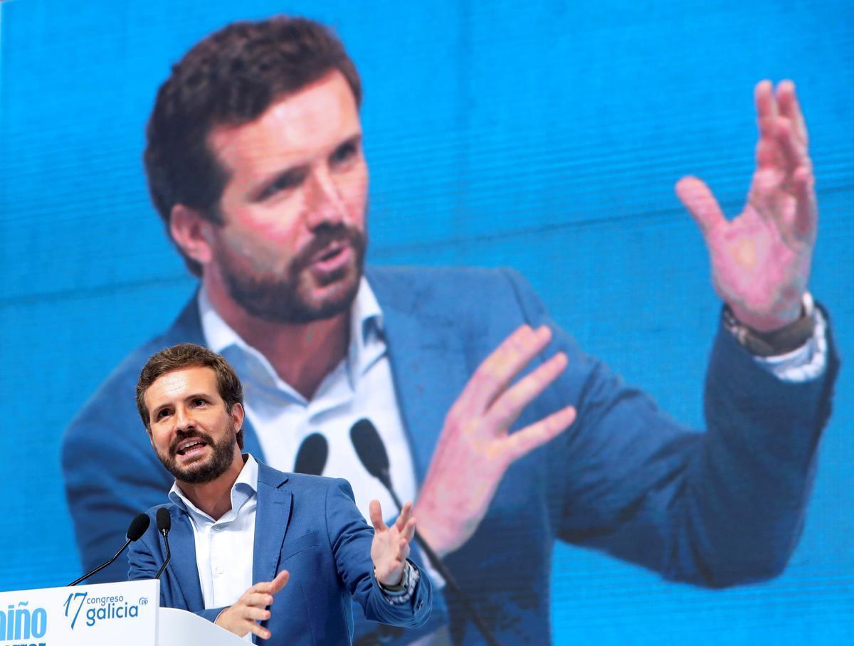 El presidente del PP, Pablo Casado, en un acto del partido en Galicia, el pasado 17 de julio.