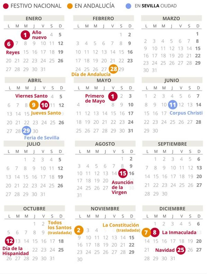 Calendario laboral de Sevilla del 2020.