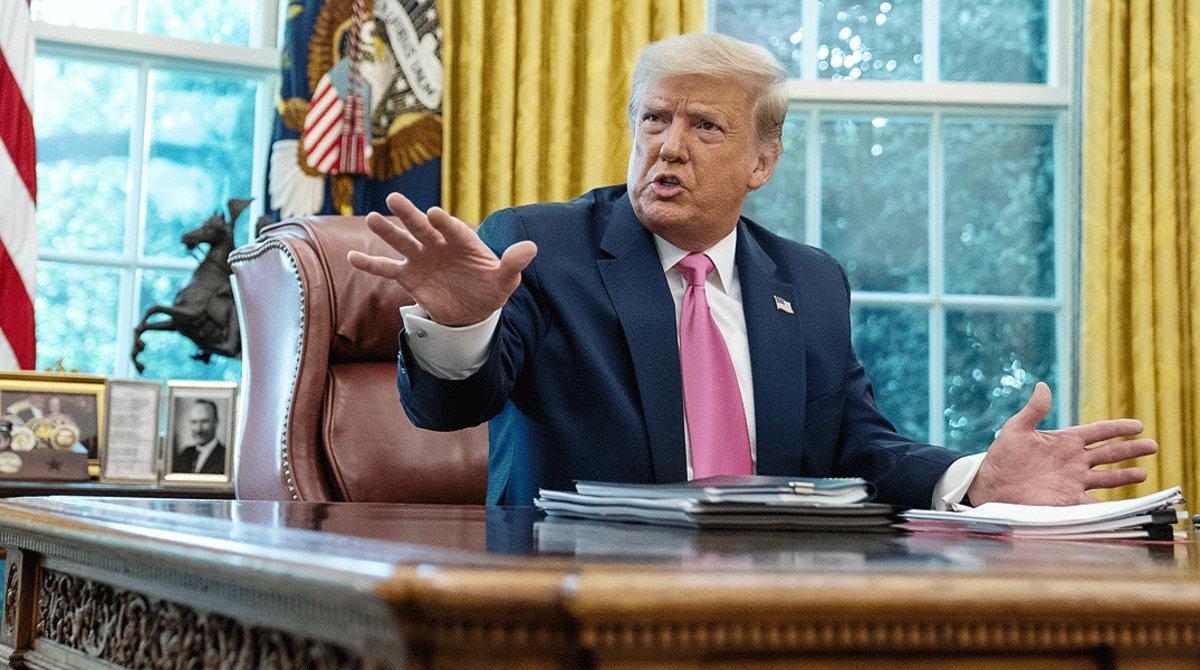 El presidente de EEUU, Donald Trump, durante una reuniónen la Casa Blanca, este lunes 20 de julio.