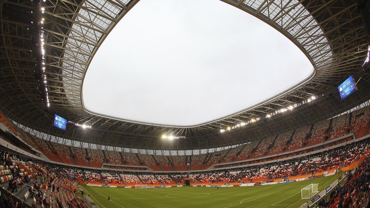 Uno de los estadios sede del Mundial ruso 2018, el de Saransk.